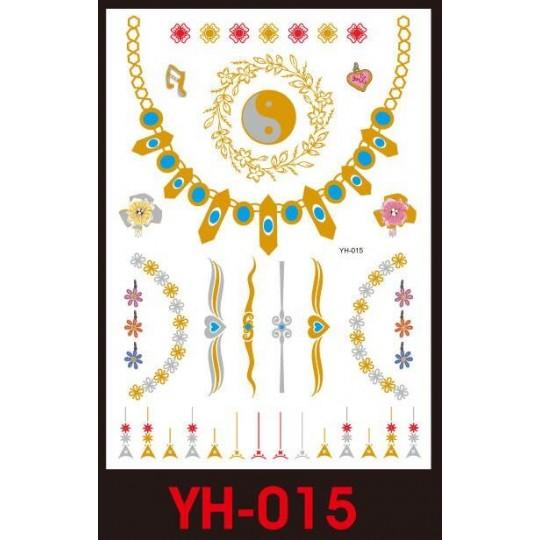 Tatuaże Metalic Złote Srebrne Flash Tatto Yh 015