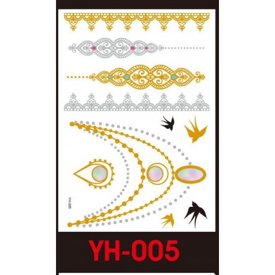 Tatuaże Metalic Złote Srebrne Flash Tatto Yh 005