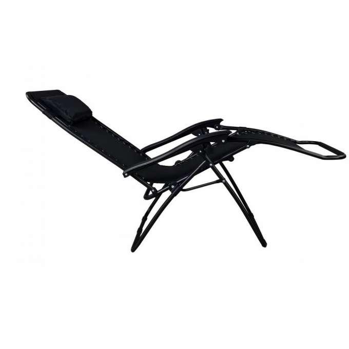 Leżak ogrodowy ZERO GRAVITY z poduszką czarny