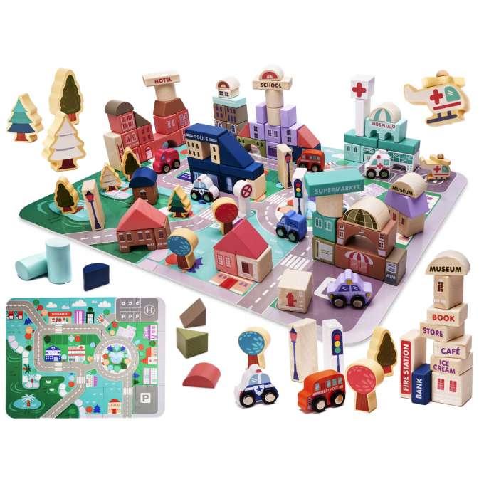 Klocki drewniane edukacyjne miasto puzzle 115el.