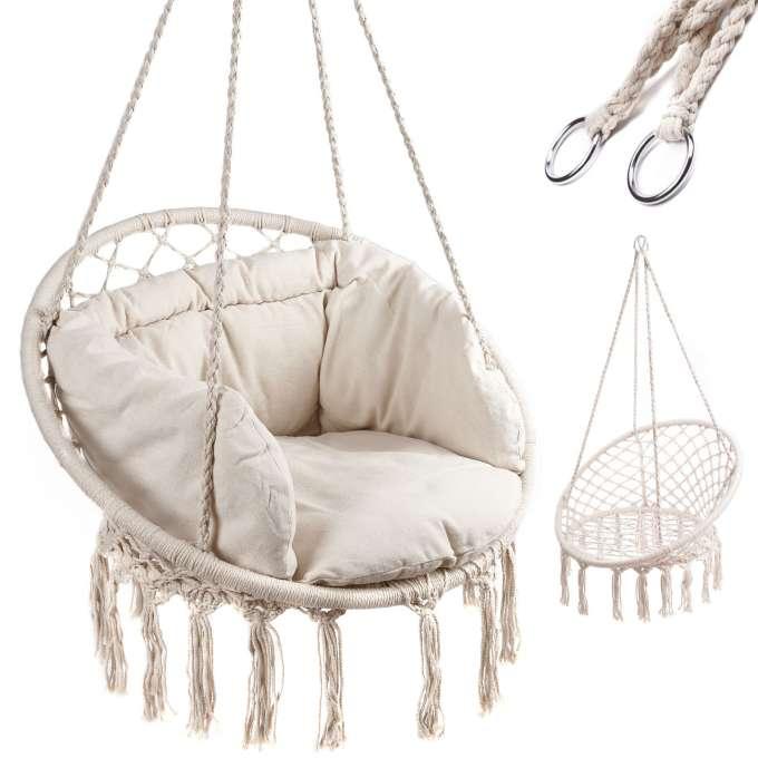 Huśtawka fotel bocianie gniazdo z oparciem ecru 80cm + poduszki