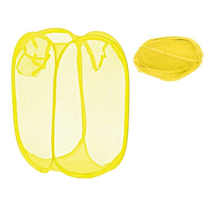 Kosz na bieliznę zabawki z siatki składany żółty